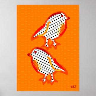 'orange birds' digital painting poster