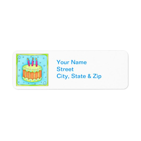 Orange  Birthday Cake Return Address Label