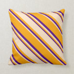 [ Thumbnail: Orange, Bisque, and Indigo Colored Lined Pattern Throw Pillow ]