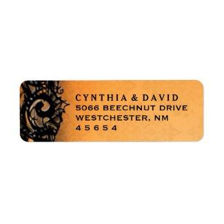 Orange & Blac Halloween Lace Wedding Address Label