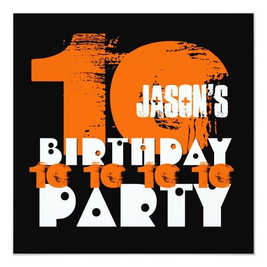ORANGE BLACK 10th Birthday Party 10 Year Old V02C Invitation