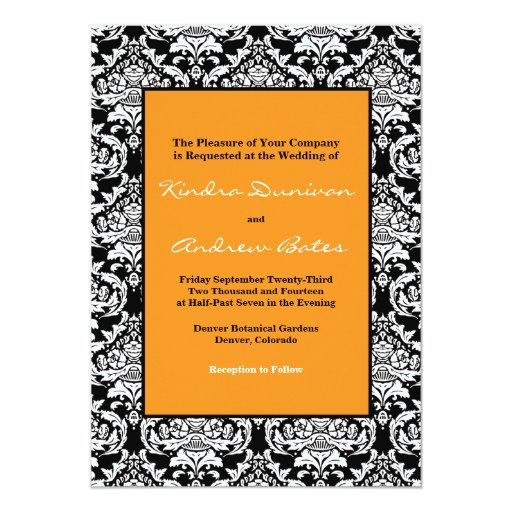 "Orange & Black 5"" X 7"" Invitation Card"