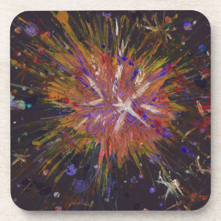 Orange Black Abstract Art Star Acrylic Painting Coaster