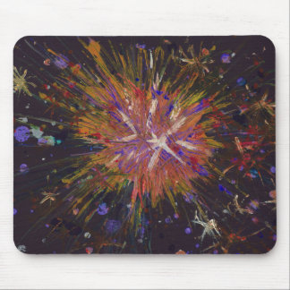 Orange Black Abstract Art Star Acrylic Painting Mouse Pad
