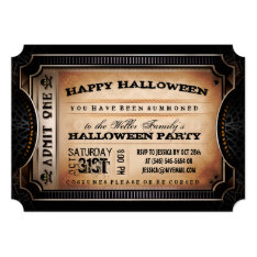 Orange & Black Admit One Halloween Party Ticket Card at Zazzle