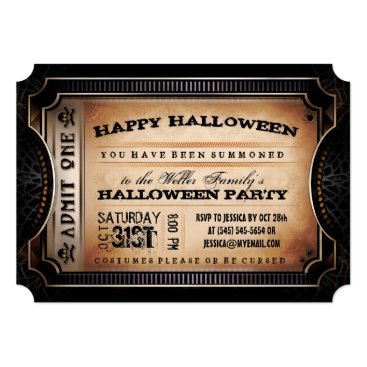 Halloween Themed Orange & Black Admit One Halloween Party Ticket Card