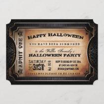 Orange & Black Admit One Halloween Party Ticket Invitation