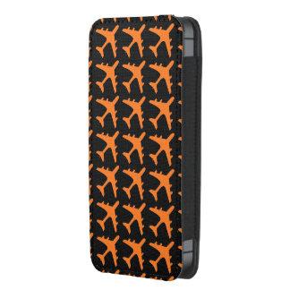 Orange black airplane pattern iphone pouch