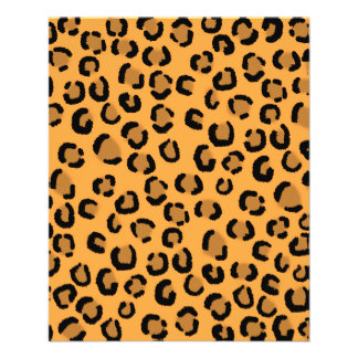 Orange, Black and Brown Leopard Print Pattern. Personalized Flyer