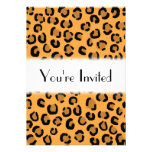 Orange, Black and Brown Leopard Print Pattern. Invitation