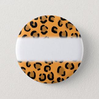 Orange, Black and Brown Leopard Print Pattern. Pinback Button