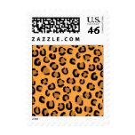 Orange, Black and Brown Leopard Print Pattern. Postage Stamp