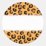 Orange, Black and Brown Leopard Print Pattern. Round Stickers