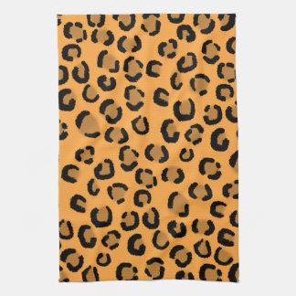 Orange, Black and Brown Leopard Print Pattern. Towel