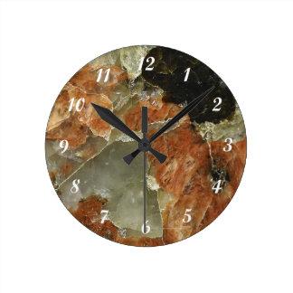 Orange, Black and Clear Quartz Round Clock