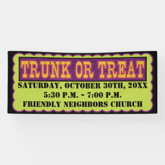 Orange, Black and Green Trunk Or Treat Banner