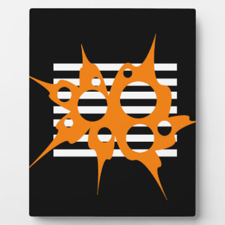 Orange, black and white abstraction plaque
