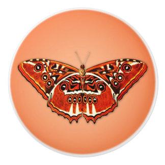 Orange, black and white butterfly ceramic knob