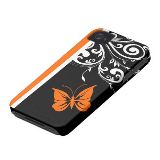 Orange Black and White Butterfly Flourish iPhone 4 Cases