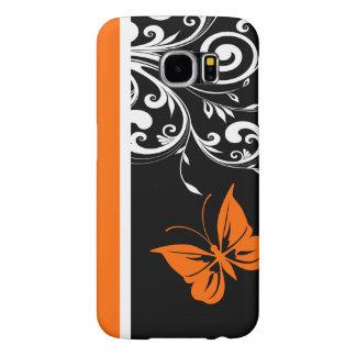Orange Black and White Butterfly Flourish Samsung Galaxy S6 Case