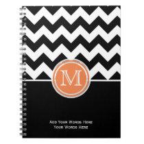 Orange Black And White Chevron Monogram Notebook