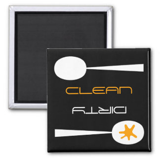 Orange, Black and White, Clean or Dirty Dishwasher Magnet