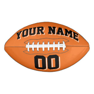 ORANGE BLACK AND WHITE Custom Football