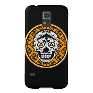 Orange Black and white damask sugar skull Galaxy S5 Cases