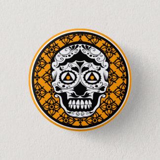 Orange Black and white damask sugar skull Pinback Button