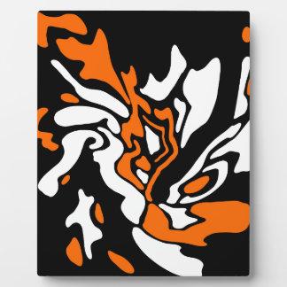 Orange, black and white decor plaque