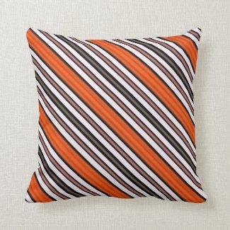 Orange, Black and White Diagonal Stripes Throw Pillow