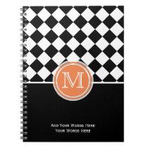 Orange Black And White Diamond Monogram Notebook