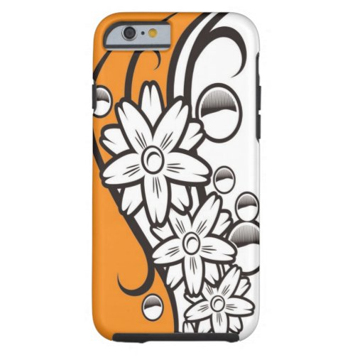 Orange Black And White Floral Pattern Tough iPhone 6 Case
