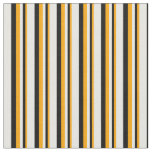 [ Thumbnail: Orange, Black, and White Lined Pattern Fabric ]
