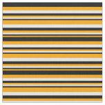 [ Thumbnail: Orange, Black, and White Lines/Stripes Pattern Fabric ]