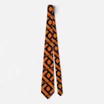 Orange Black and White Patterned Tie