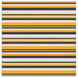 [ Thumbnail: Orange, Black, and White Striped/Lined Pattern Fabric ]