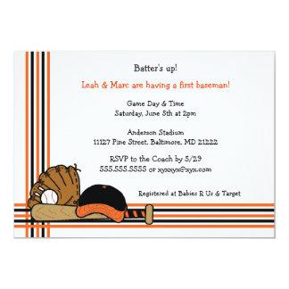 "Orange & Black Baseball Baby Shower Birthday party 5"" X 7"" Invitation Card"