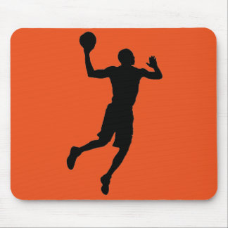Orange Black Basketball Player Silhouette Mouse Pad