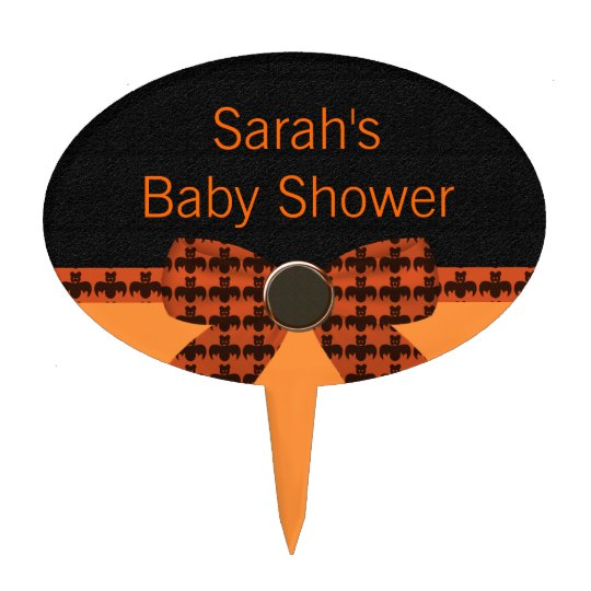 Orange & Black Bat Baby Shower Cake Topper