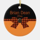 Orange & Black Bat Baby Shower Ornament