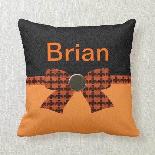Orange & Black Bat Baby Shower Throw Pillows