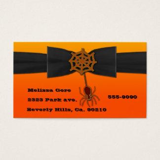 Orange & Black Bling Spider Web Business Card