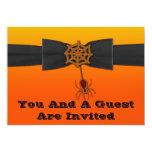 Orange & Black Bling Spider Web Custom Invite