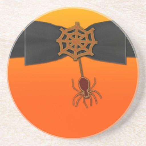 Orange & Black Bling Spider Web Drink Coasters