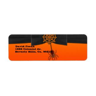 Orange & Black Bling Spider Web Label