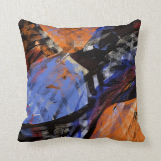 Orange Black Blue Violet Abstract Art Pillows