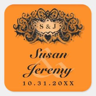 Orange & black Bold Halloween Wedding Square Label