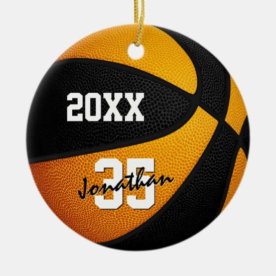 orange black boys girls keepsake basketball ceramic ornament