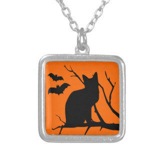 Orange Black Cat With Vampire Bats  Halloween Silver Plated Necklace
